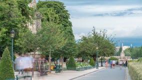 Notre Dame de Paris Garden citent dessus le timelapse d'île, Paris, France clips vidéos