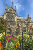 Notre-Dame de paris gardens in a summer sunny day Royalty Free Stock Images