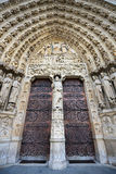 Notre Dame de Paris, Gothic portal, France Stock Photo