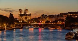 Notre Dame de Paris, Ile Saint Louis and Seine River at twilight. Paris, France stock video