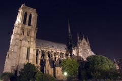 Notre-Dame de Paris illuminated. Paris. France royalty free stock photo