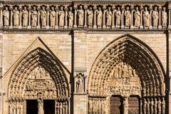 Notre Dame De Paris katedra: Architektoniczni szczegóły Paryż, Fra Obrazy Royalty Free