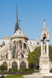 Notre-Dame de Paris katedra od ogródów na słonecznym dniu Obrazy Royalty Free