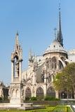 Notre-Dame de Paris katedra od ogródów na słonecznym dniu Zdjęcia Royalty Free