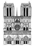 Notre Dame De Paris katedra. Odosobniona podróży etykietka Zdjęcie Royalty Free
