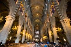 Notre Dame De Paris katedralny wnętrze, Paryż, Francja obraz stock