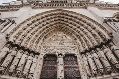 Notre Dame De Paris katedry bramy zdjęcia royalty free