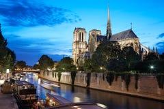 Notre Dame de Paris na noite Imagem de Stock Royalty Free