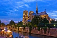 Notre Dame de Paris na noite fotografia de stock