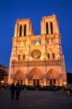 Notre Dame de Paris nachts stockbild