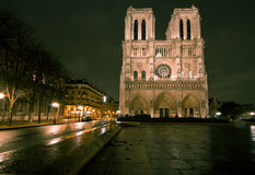 Notre Dame De Paris by night Royalty Free Stock Photo