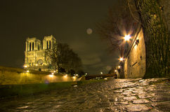 Notre Dame De Paris by night Royalty Free Stock Image
