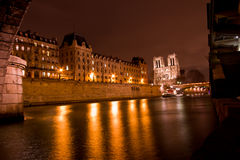 Notre Dame De Paris by night Royalty Free Stock Images