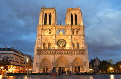 Notre Dame de Paris night Stock Photos