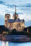 Notre Dame de Paris at night Stock Images