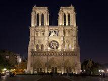 Notre Dame de Paris at night, France Royalty Free Stock Image