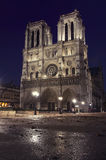 Notre Dame de Paris at night Stock Photo