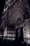 Notre dame de paris by night. The most important church in paris during the christmas time Stock Photography