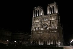 Notre dame de paris by night. The most important church in paris during the christmas time Royalty Free Stock Photography