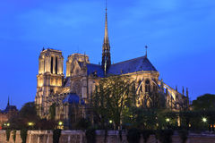 Notre Dame de Paris at night, Paris, France Stock Images