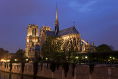Notre Dame de Paris at night, Paris, France Stock Photos