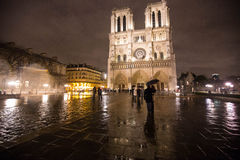Notre Dame de Paris. At night in rainy weather Stock Photography
