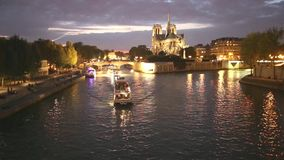 Notre Dame de Paris by night stock video footage
