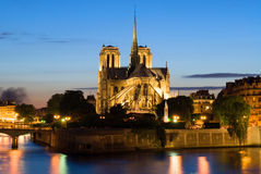 Notre Dame de Paris. Night view. Notre Dame de Paris, back side. Night view Royalty Free Stock Photos