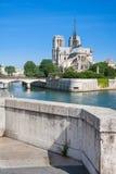 Notre Dame de Paris no rio Seine, Paris, França Imagem de Stock