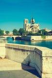 Notre Dame de Paris no rio Seine, Paris, França, vintage s Foto de Stock Royalty Free
