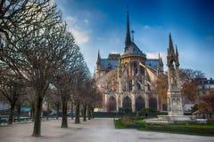 Notre Dame de Paris, noite do outono Foto de Stock Royalty Free