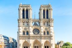 Notre Dame de Paris. Famous cathedral with blue sky stock photography
