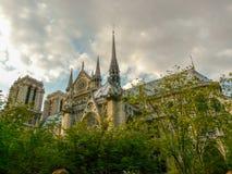 Notre Dame de Paris medieval gothic cathedral in the downtown Paris  stock photos