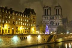 Notre Dame de Paris over the Seine River Royalty Free Stock Photos