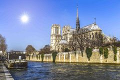 Notre Dame de Paris over the Seine River Stock Photos