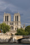 Notre Dame de Paris over the storm Royalty Free Stock Photo