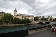 Notre Dame de Paris, Paris, waterway, bridge, river, city. Notre Dame de Paris, Paris is waterway, city and building. That marvel has bridge, canal and water and Royalty Free Stock Images
