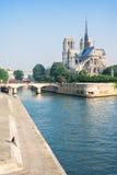 Notre-Dame de Paris pendant le matin d'été Paris, France Images stock