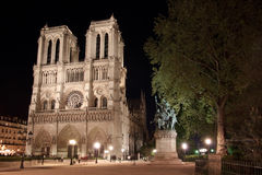 Notre Dame de Paris place illuminated in Paris. The place in front of Notre Dame de Paris illuminated by night Stock Photos
