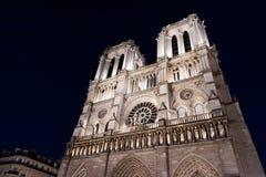 Notre Dame De Paris przy nighttime Fotografia Stock