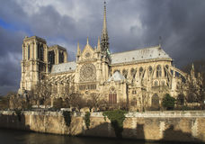 Notre Dame de Paris before rain, Paris, France Royalty Free Stock Image