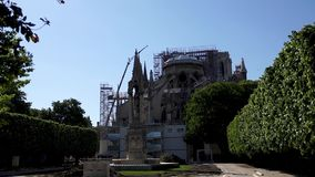 Notre Dame de Paris: Reinforcement work after the fire. Notre Dame de Paris. Reinforcement work in progress after the fire, to prevent the Cathedral to collapse stock video footage