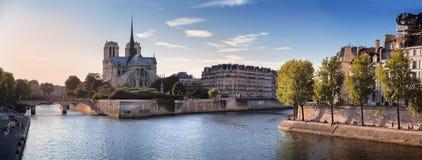 Notre Dame de Paris and River Seine. Notre Dame cathedral, Ile Saint Louis and River Seine in Paris, France stock photography