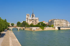 Notre Dame de Paris in s sunny day Royalty Free Stock Images