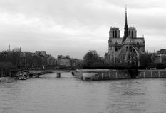 Notre Dame de Paris and the Seine River, France Stock Images