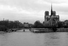 Notre Dame de Paris and the Seine River, France stock images