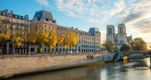 Notre dame de Paris and Seine river in Paris, France. View of Notre dame de Paris and Seine river in Paris, France Royalty Free Stock Photo