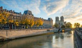 Notre dame de Paris and Seine river in Paris, France. View of Notre dame de Paris and Seine river in Paris, France Royalty Free Stock Images