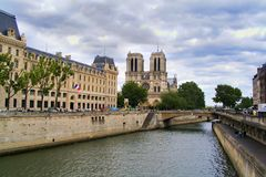 Notre Dame de Paris from the Seine 01 Stock Photo