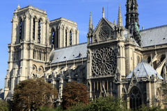 Notre Dame cathedral Paris France, side entrance view Stock Photos